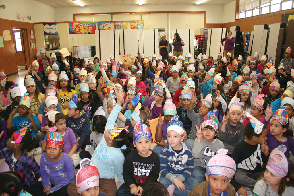 THAT'S A LOT OF HATS: The entire student body wore their specially created Matty Hatty hats during the school assembly for The Matty Fund.