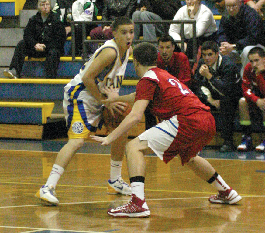 GUARD PLAY: Vets' Camara looks to drive on Kyle Toolin in Tuesday's game.