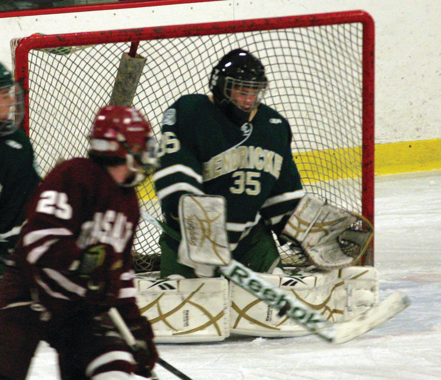 STOPPER: Hendricken goalie Mitch Proulx saves a shot during Friday's game against La Salle.