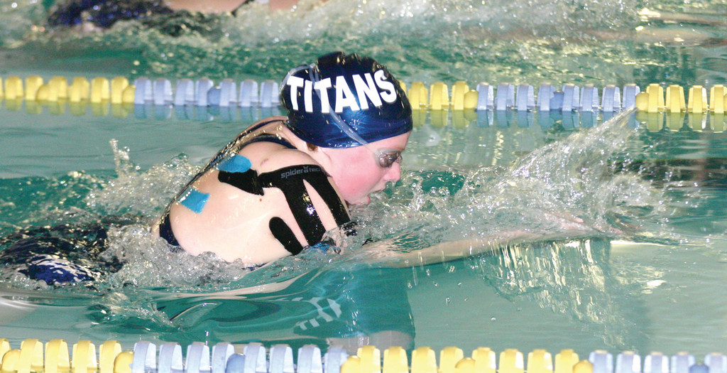 Stephanie Hager swims the 100 breaststroke.
