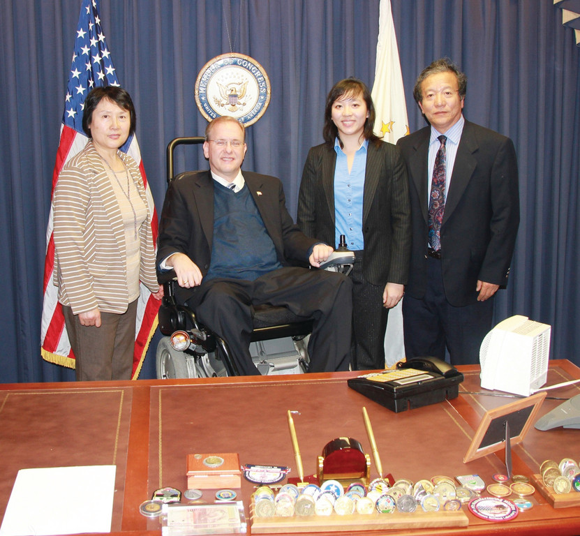 WEST POINT BOUND: With U.S. Military Academy nominee Nina Yu of Warwick and Congressman Langevin are Nina's mother, Bin Zi, and her father, Ming Yu.