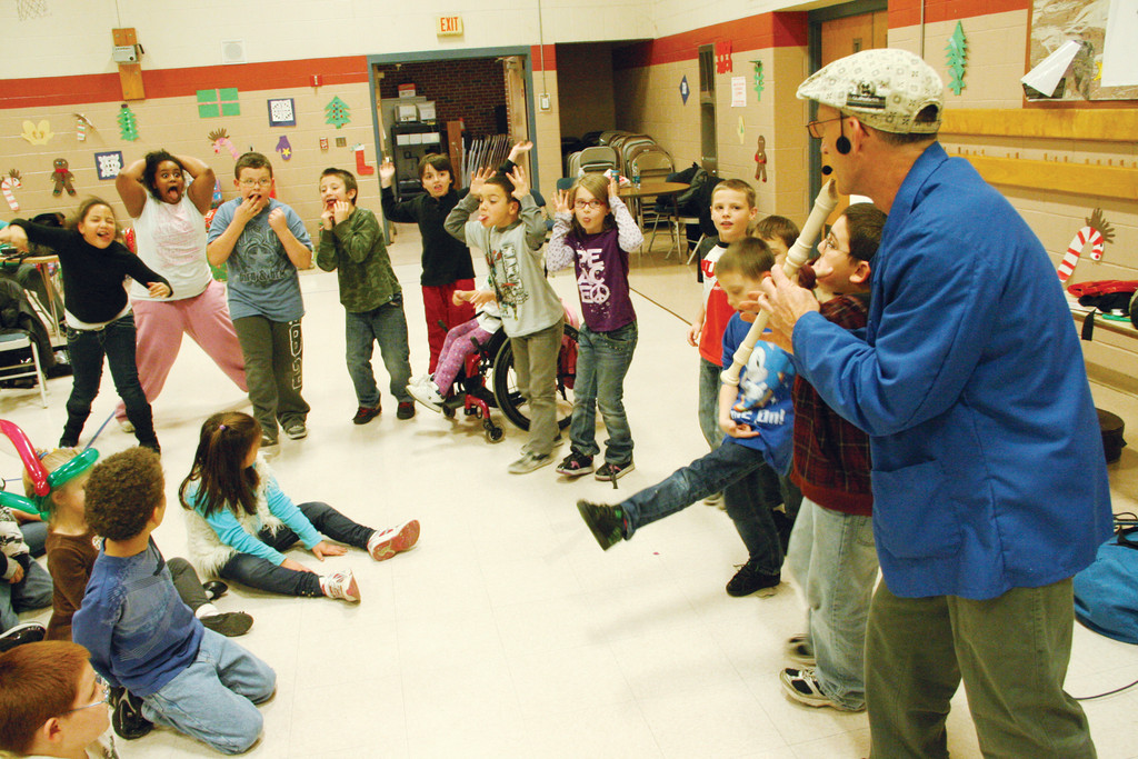 THE PIPER: Jay Brunelle kept the kids amused and performing on their own.