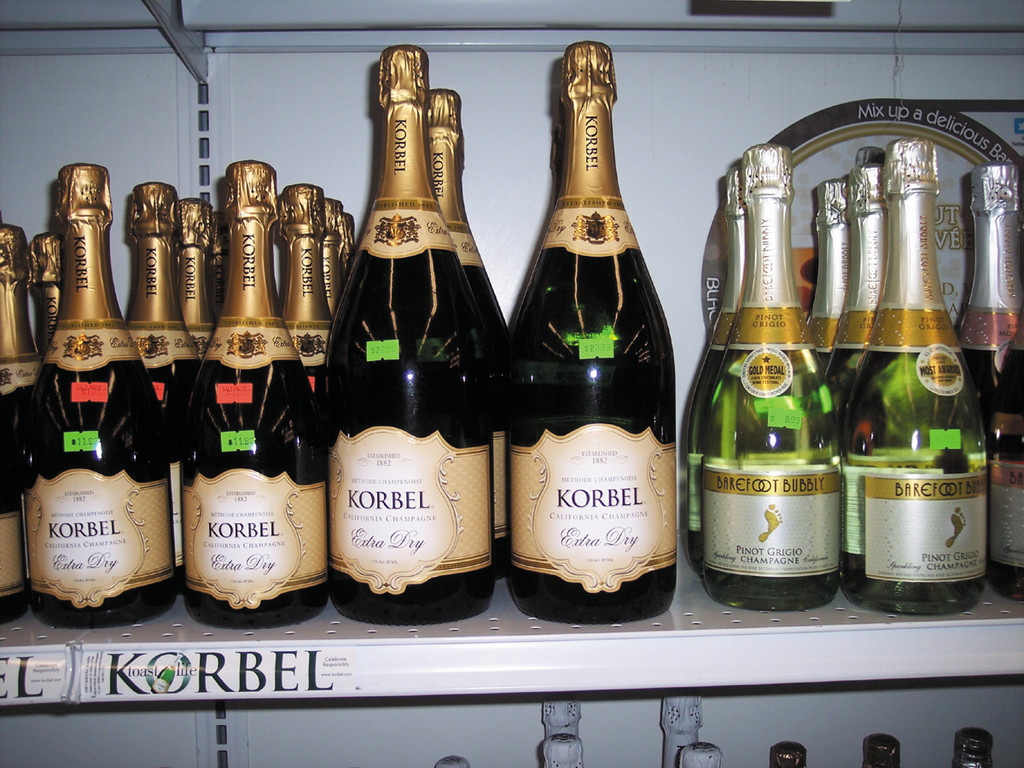 Enjoy a glass of Korbel California Extra Dry Champagne or Barefoot Bubbly Pinot Grigio Champagne with friends and family this holiday.  Welcome 2013.