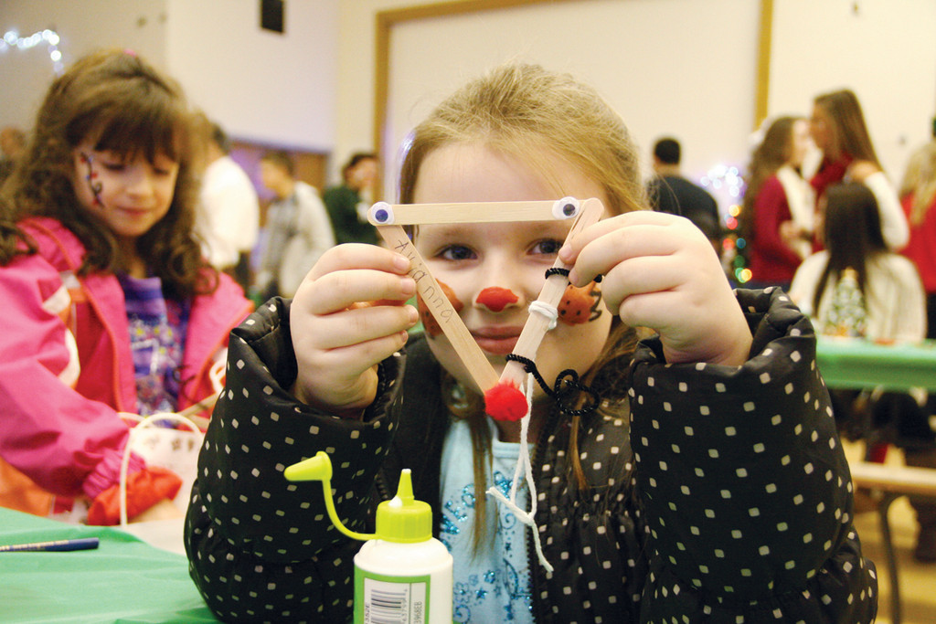THE RED-NOSED KID: Park School first grader Avianna Kern was one of about 100 first and second graders from the school to spend a part of their Monday morning at Vets High.