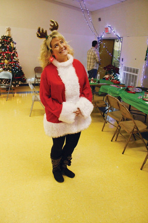 IN THE SPIRIT: Vets teacher Cyndi Rix was appropriately attired for the party.