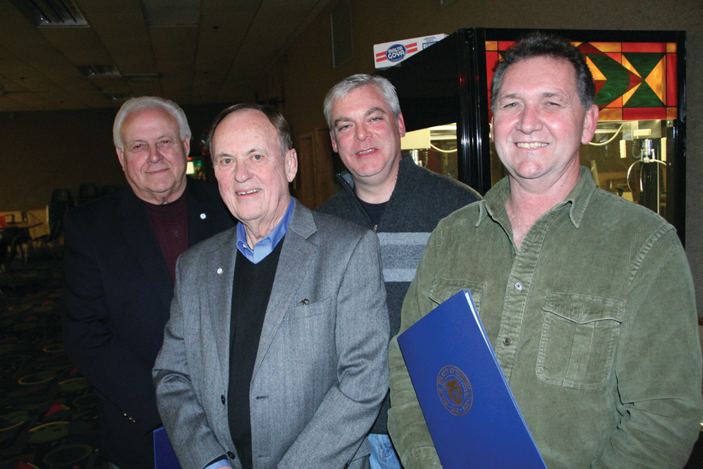 THEIR DAY: Mayor Scott Avedisian declared Thursday as the day for each of the retiring members of the City Council in proclamations he read at a Christmas party that evening. From left are: Ray Gallucci, Bruce Place, Avedisian and John DelGiudice.