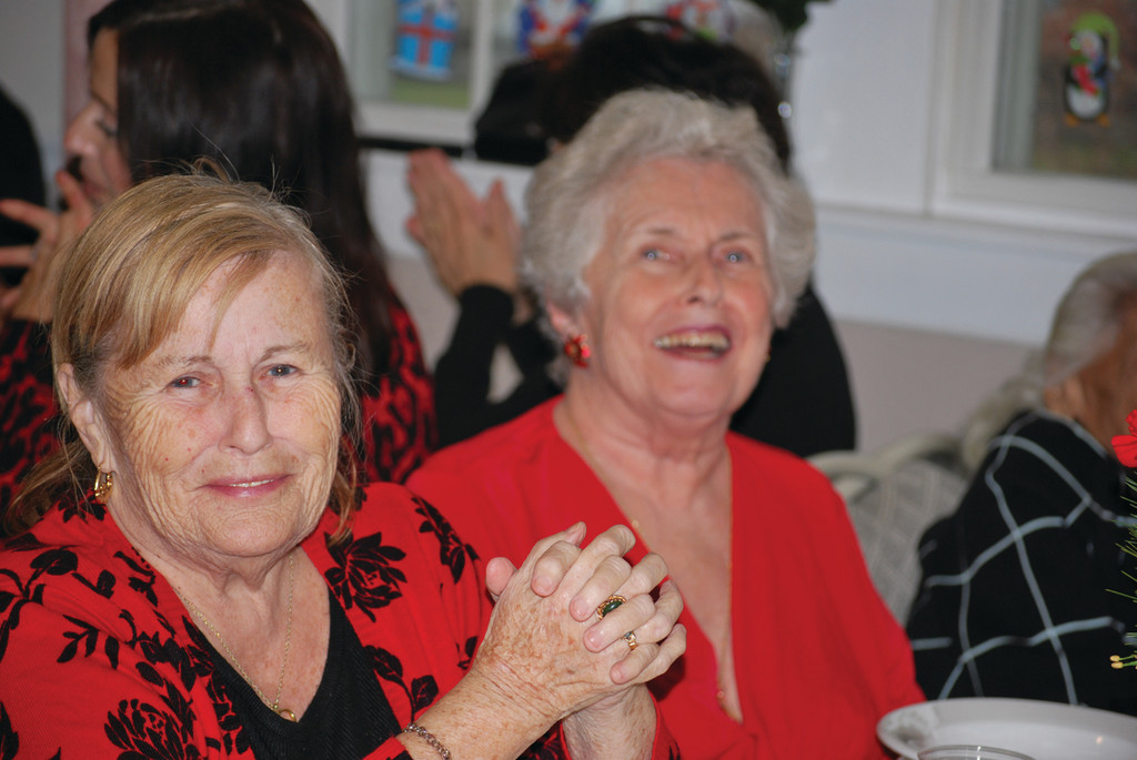 Forand residents Carol Levellie and Eileen Morrison share a few laughs.