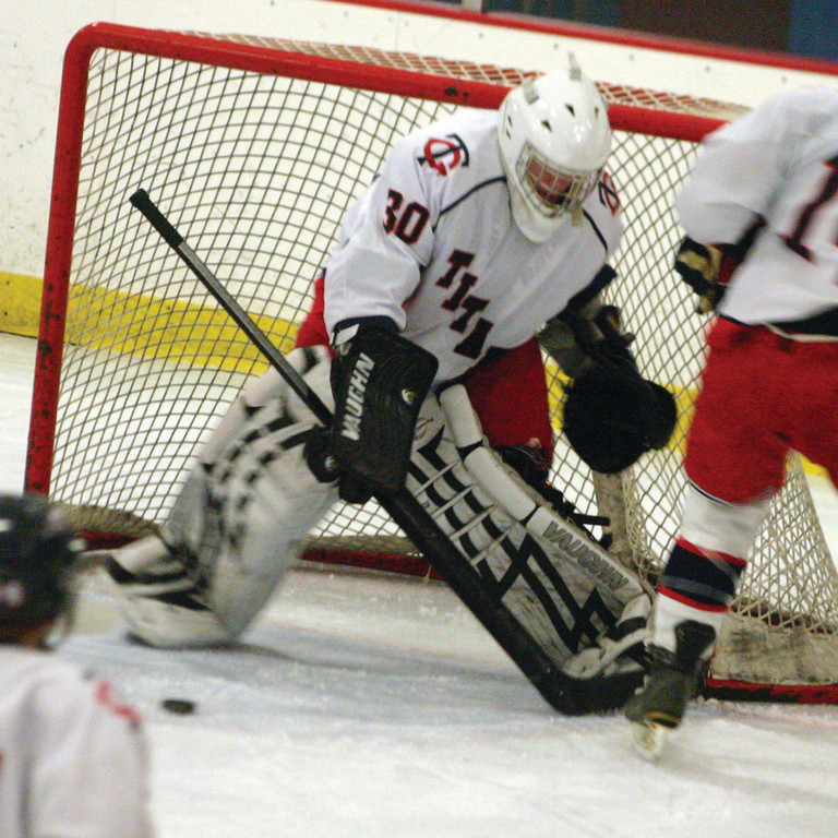 ON THE POST: Toll Gate goaltender David Stachurski tries to locate the puck on Friday night.