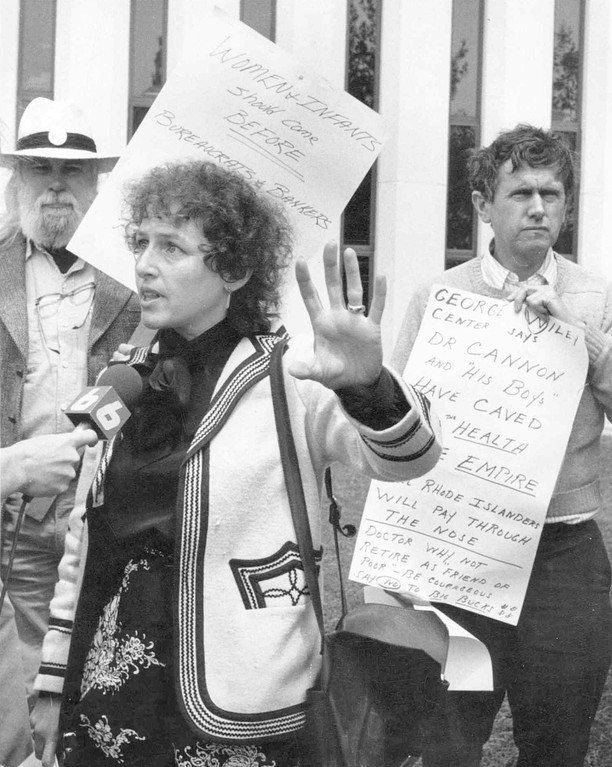 STATING HIS POINT OF VIEW: Richard Walton, left, joined Hillary Salk, the Citizens Party candidate for governor, and Henry Shelton of the George Wiley Center outside the state Department of Health in this picture taken May 19, 1983. They were protesting the relocation of Women & Infants Hospital to the Rhode Island Hospital complex.