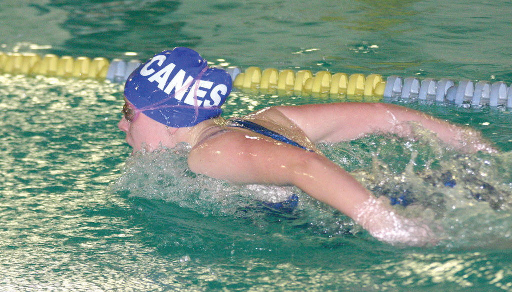 FLYING: Vets' Katie Evans competes in the 100 butterfly during Friday's meet against Pilgrim. Evans returns for her senior season after strong postseason success last year.