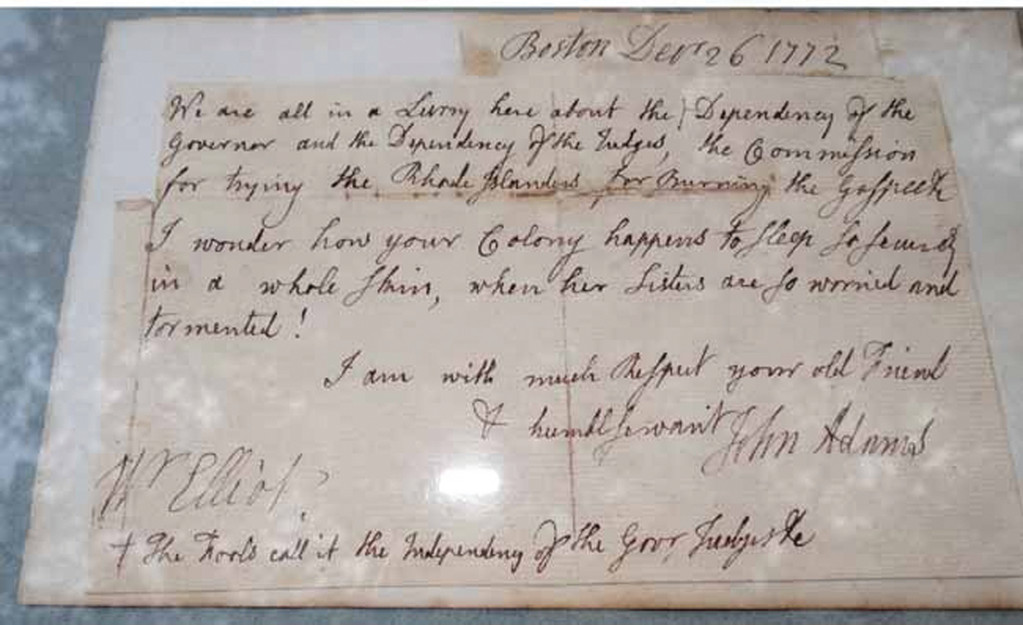 WAS IT ADAMS? A page from a letter believed to have been written by John Adams mentioning the burning of the Gaspee is up for auction Jan. 16.