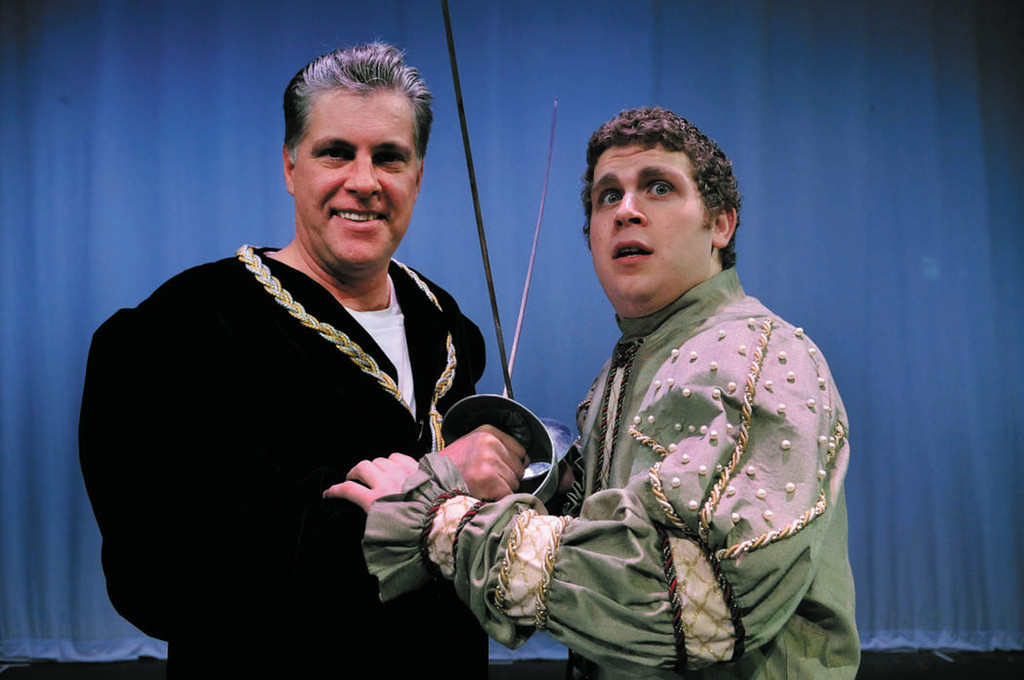 "C. Richard Koster (Cranston) as John Barrymore and Ross Gavlin (Woonsocket) in The  Community Players' comedy ""I Hate Hamlet,"" running January 18-27 at Jenks Auditorium, Division St., Pawtucket."