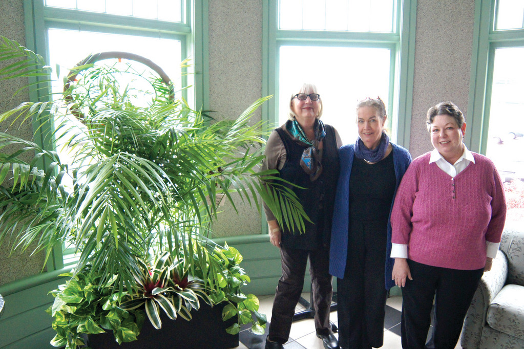 GIFT OF LIFE: Members of the Chatham Village Garden Club were recently on hand to oversee the installation of a planting in the lobby of the Program in Women's Oncology at Women & Infants Hospital. From left are Carol Lukowski, Gail Hatfield, and Janice Marcello, all Warwick residents.