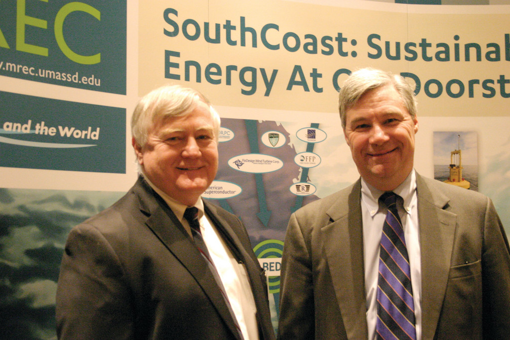 MAKING WAVES: Senator Sheldon Whitehouse (right) offered the keynote speech at the fourth Annual Marine Renewable Energy Technical Conference of the New England Marine Renewable Energy Center. More than 100 people in the ocean industry from throughout the U.S. and beyond attended the event, including Raymond M. Wright, dean of engineering at URI.