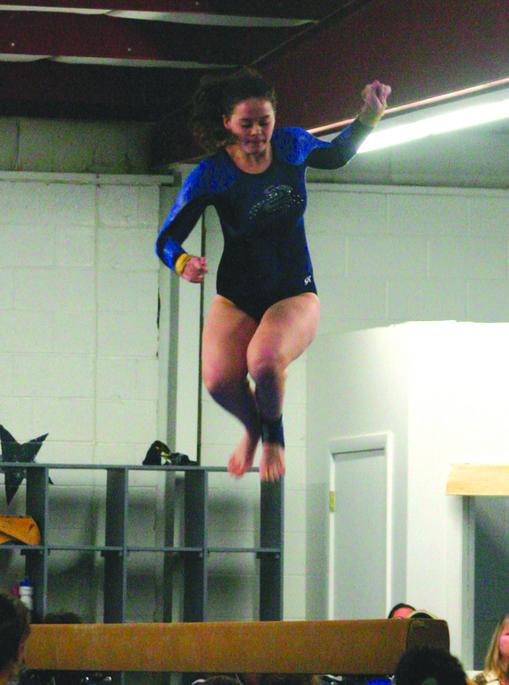BALANCING ACT: Toll Gate's Alyssa Dolan competes on the beam during a meet last season.