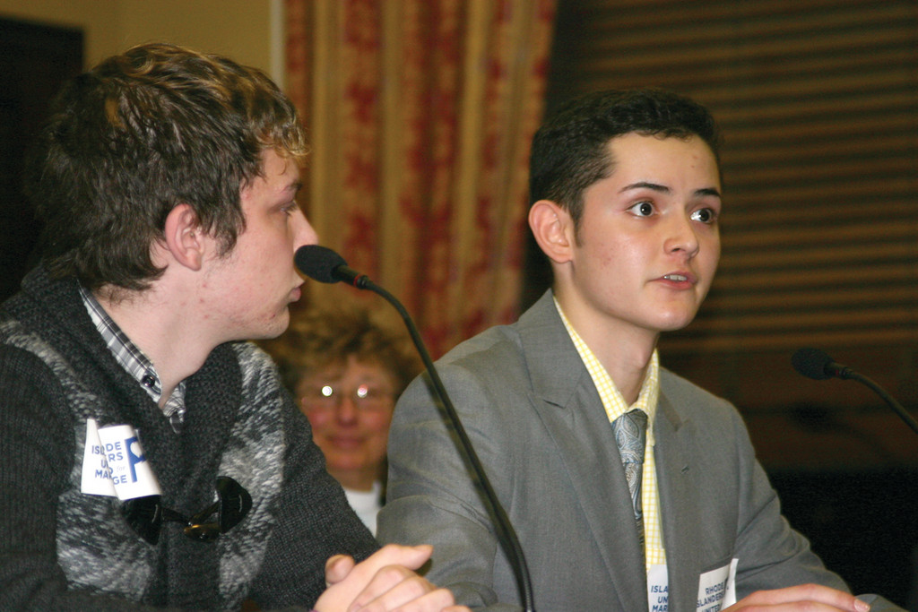 YOUNG VOICES: At right, Joe DiMauro, 18, of Warwick, testified in favor of same sex marriages. Joe Lazzerini, 21, the reigning Mr. Gay Rhode Island, accompanied him.
