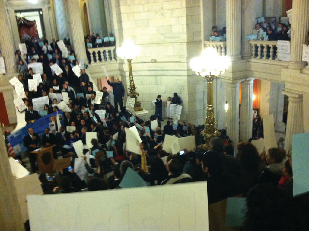 RALLY: The State House Rotunda was filled with hundreds of same sex marriage opponents who sang and chanted throughout the night. The noise from the rally could be heard throughout the building.