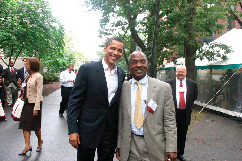 SPEAKING AT URI: Harvard law professor Charles J. Ogletree, pictured here with President Obama, will speak at URI on Feb. 5.