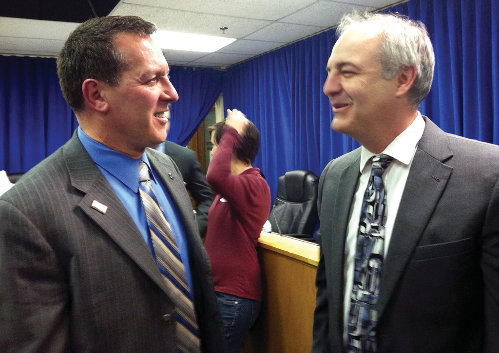 BILL PROPONENTS: Warwick Rep. Frank Ferri and same-sex marriage bill sponsor Cranston Rep. Art Handy share smiles after the committee vote.