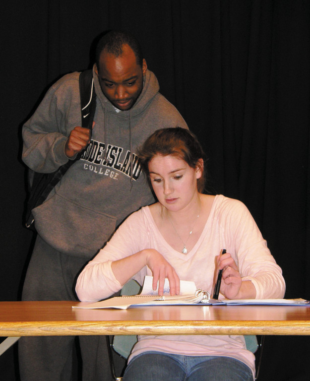 "Tobias Wilson and Katie Flanagan rehearse for Next Generation Theatre's ""The Dream of the Burning Boy."""