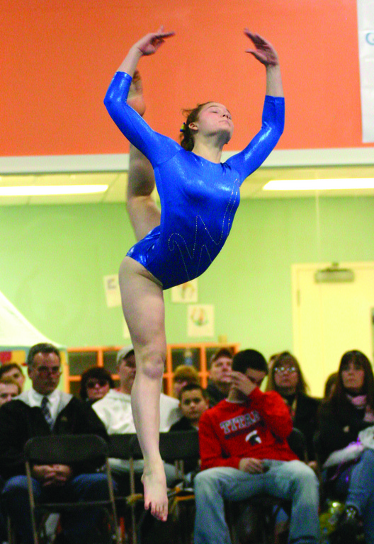 FLYING: Vets' Sloan Kinney does her floor routine in Sunday's gymnastics meet.