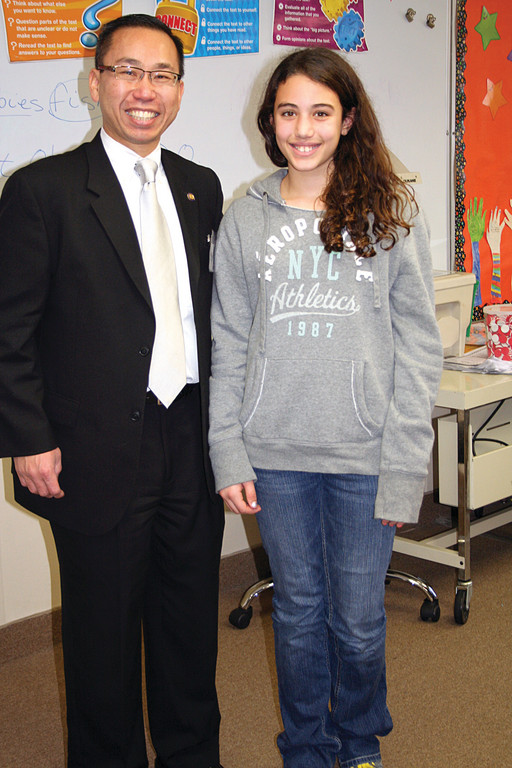 PROUD WINNER: Haley Travieso, a sixth grade student, was the proud winner of Lunch with the Mayor, from a BASICS dance-a-thon raffle.