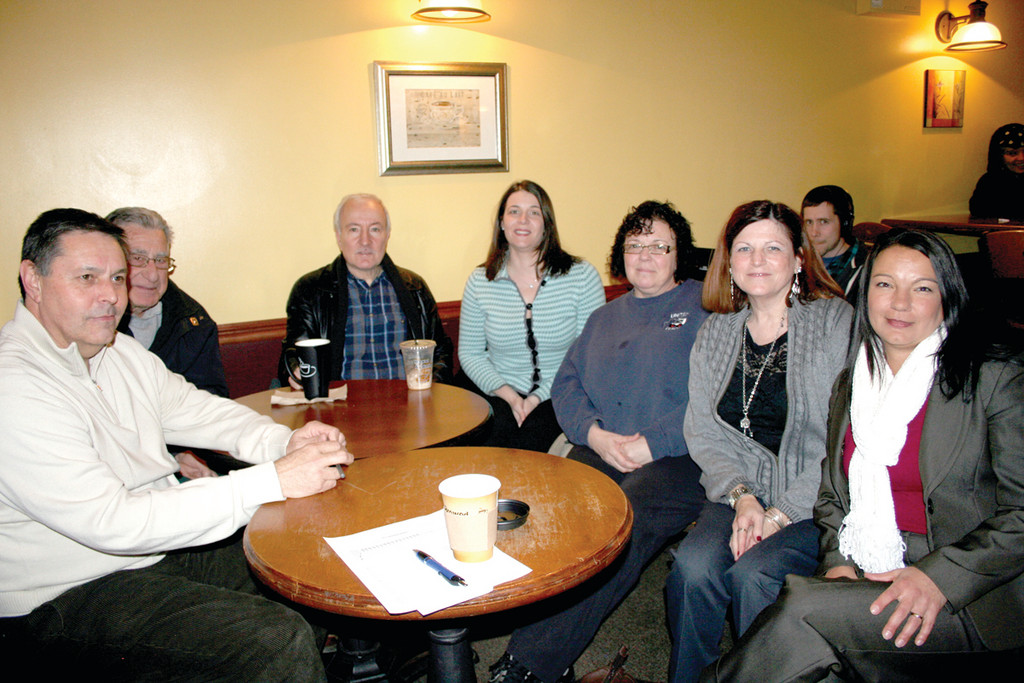 The Johnston Democratic Town Committee says the party is stronger than ever, thanks in part to tightened ranks and a change in bylaws. Pictured from left are Chairman Richard DelFino, Sergeant of Arms Carlo Jacavone, 2nd Vice Chair Anthony Pilozzi, Recording Secretary Christen Ciarlo, Corresponding Secretary Lois Mazzulla Marandola, Secretary Linda Folcarelli and 1st Vice Chair Jennifer Russo.