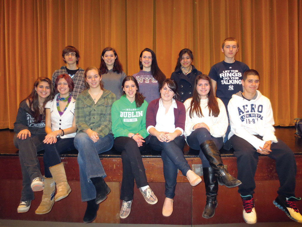 ON STAGE SATURDAY: Among the many Pilgrim students who will be performing at Saturday�s 50th anniversary celebration are front row from left: Janisse Ramos, Rosalie LaRoche, Carly Martin, Chelsea Carney, Lucy Cavanagh, Carrie Cavanagh and Tyler Ramos, and back row: Kyle Buonfiglio, Rebecca Mallette, Stephanie Johnson, Michelle Lee and Jeff Pratt.