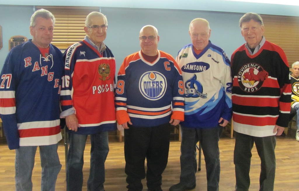 SUPER STAFFERS: These five members of the St. Joseph Men's Guild at Immaculate Conception Church are decked out in just a few of the many hockey jerseys that will be on display at the 36th annual Cranston Sports Collectors Show on Saturday. The group includes, from left: Rick Putnam, Bob Venditto, David Parrillo, Chairman Tom McDonough and Walter McGarry.