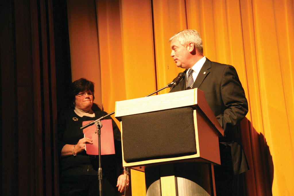 ALUMNI TAKE THE STAGE: Pilgrim Principal Marie Cote and Mayor Scott Avedisian opened the school�s 50th anniversary celebration Saturday night.