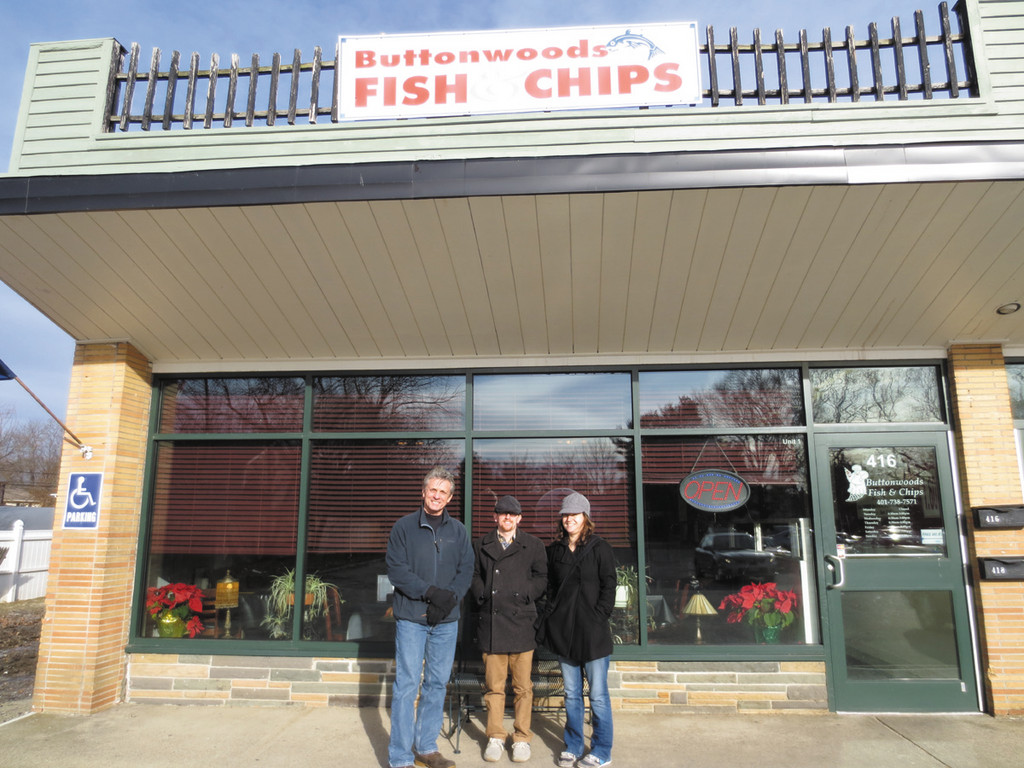 Leaving their favorite Buttonwoods Fish & Chips are longtime fans Bruce and Adam Charron, along with first-timer Lisa Portis.