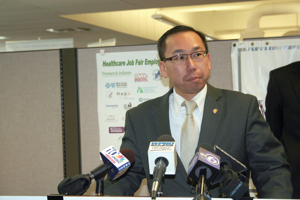 READY TO WORK: Cranston Mayor Allan Fung discusses job fair opportunities offered through a partnership between the cities of Cranston and Providence, as well as Workforce Solutions and other workforce development agencies.