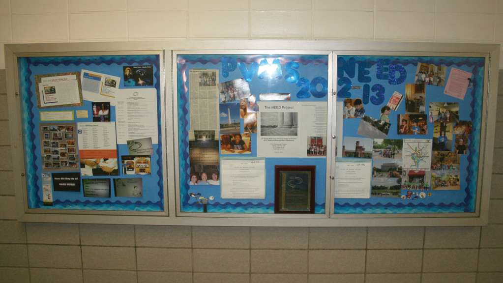 SHOWCASE OF ACCOMPLISHMENTS: There is a special display case in the main hallway at Park View that showcases all of the work and special events that the NEED students have participated in.