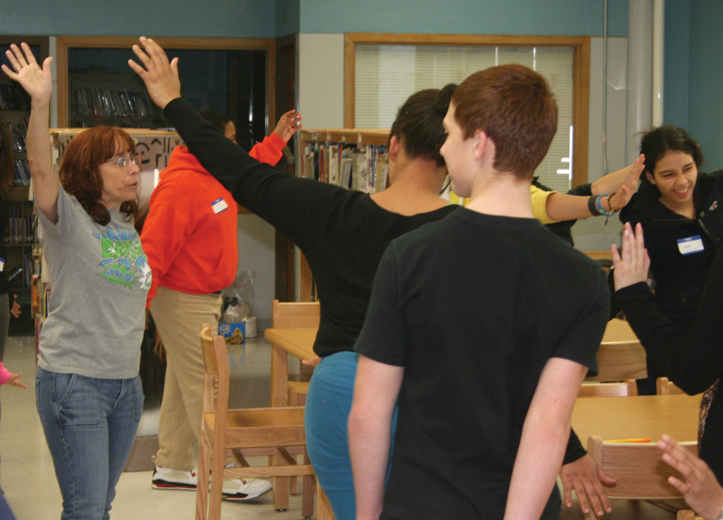 GET A MOVE ON: Joanne Spaziano teaches the students at Park View a variety of chants, which they will then, in turn, teach to other students as part of the NEED program.