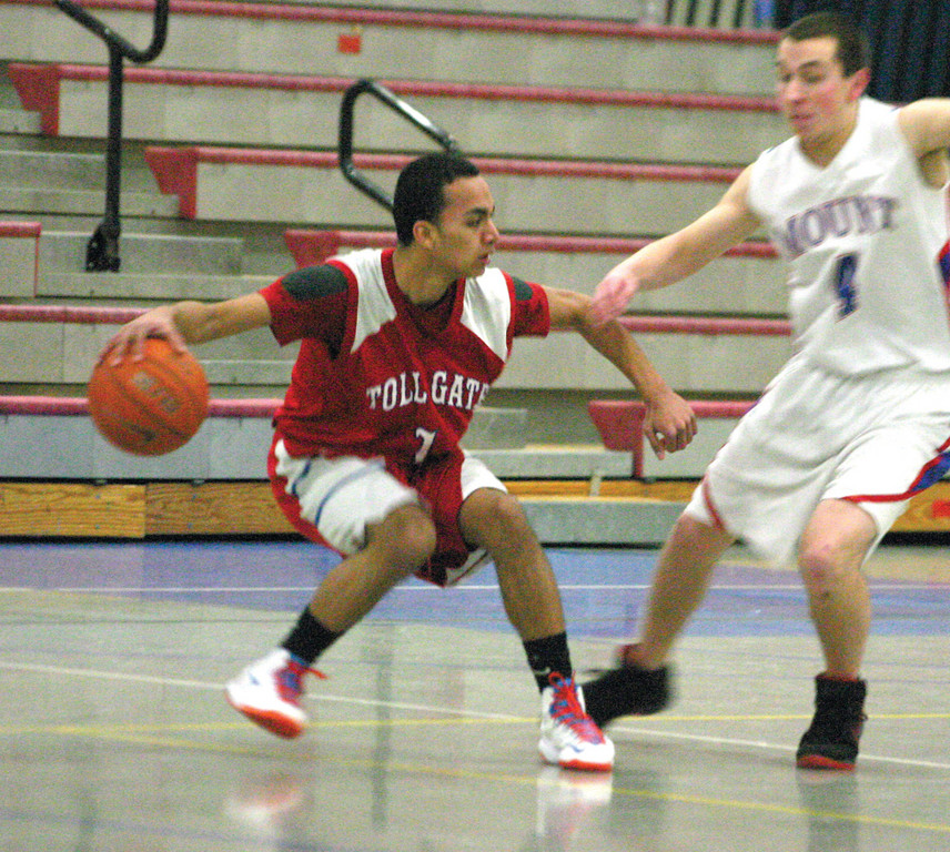 DANCING: Uzair Ayaz tries to gain some separation on the perimeter during Monday's game against Mount.