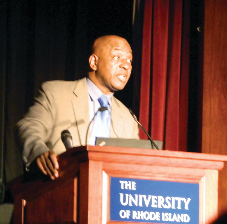 SPEAKING AT URI: Harvard Law School's Charles Ogletree, who taught both Barack and Michelle Obama, opened Black History Month's events at URI.