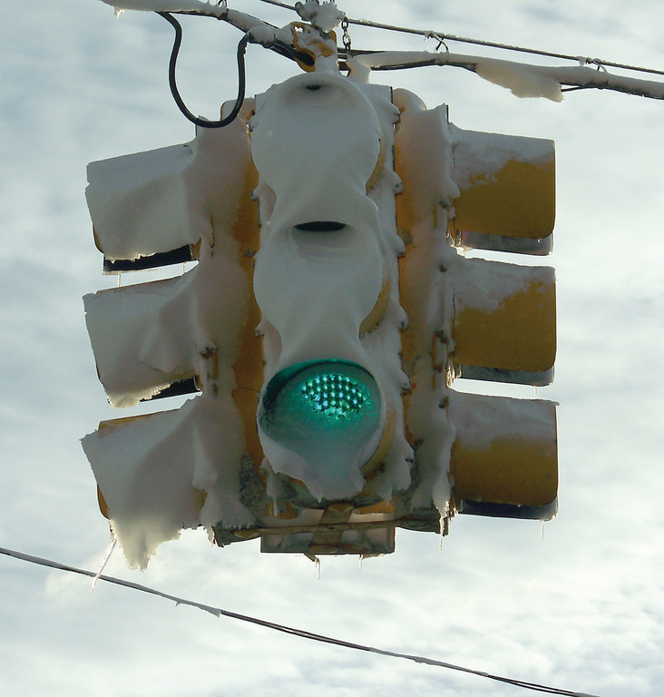 WHITE LIGHT: You'd think the heat of the traffic light would have melted the snow, but it didn't.