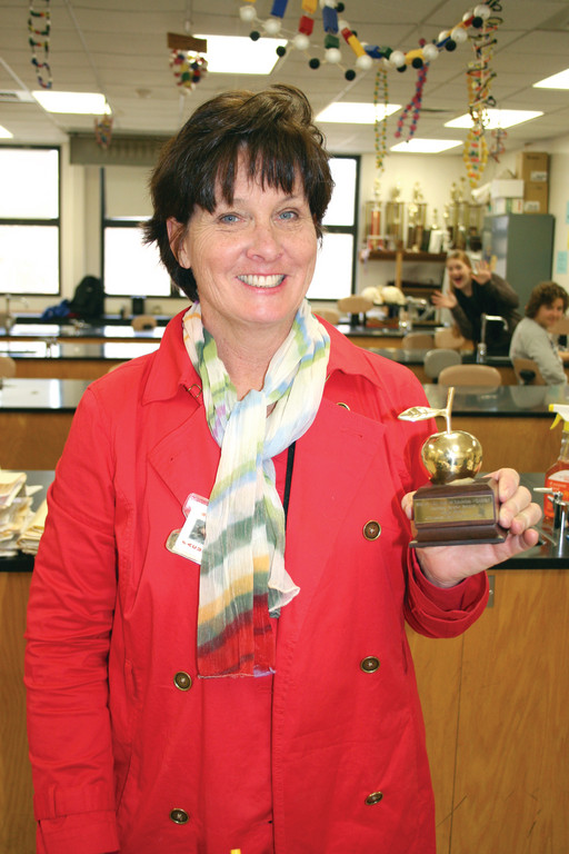 AN APPLE A DAY: Holly Meyer is the recent recipient of Channel 10's Golden Apple Award, an award that recognizes teachers throughout the state for a job well done.