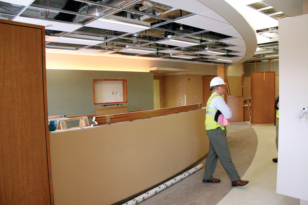 RECEPTION AREA: James Beardsworth, hospital spokesman, paces the center reception area.