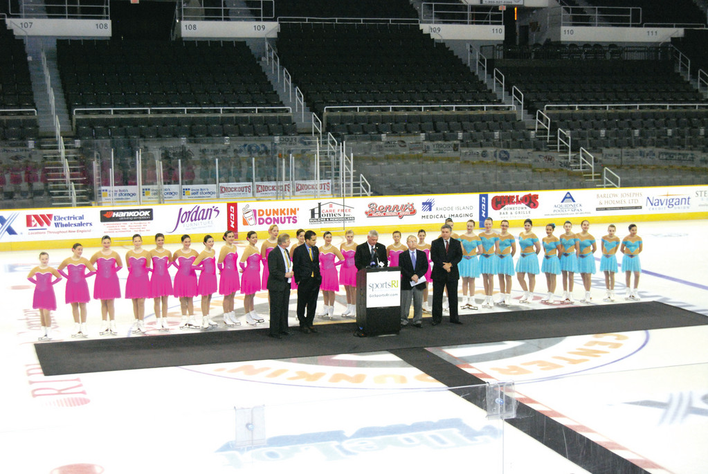 THEY ICED THE DEAL: Mayor Scott Avedisian was at the podium on center ice at the Dunkin' Donuts Center Tuesday to announce that the U.S. Synchronized Skating Championships will be held here in 2015.