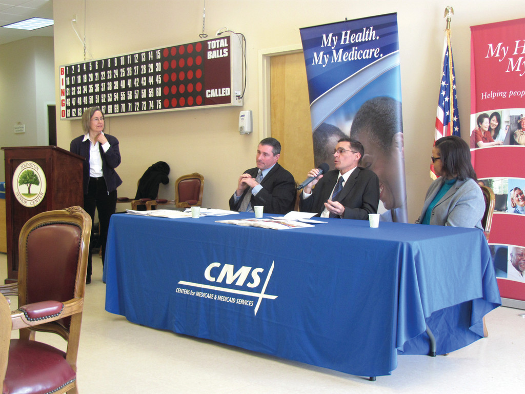 This was the scene Tuesday morning at the Johnston Senor Center for an event aimed at helping senior citizens fight Medicare fraud. The group of panelists includes, from left: Felice Freyer, Raymond Hurd, Jon-Paul Correira and Aleatha Dickerson.
