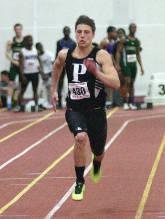 RUNNING: Pilgrim's Steve Croft runs the 55-meter dash, where he finished fifth.