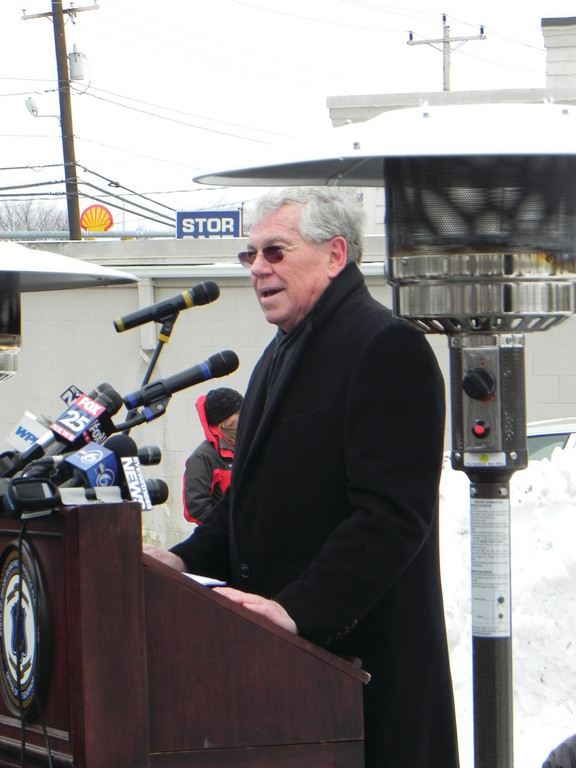 FLOOD OF EMOTION: Former Governor Donald Carcieri said being back at the site brought back many feelings and emotions from that tragic night 10 years ago.