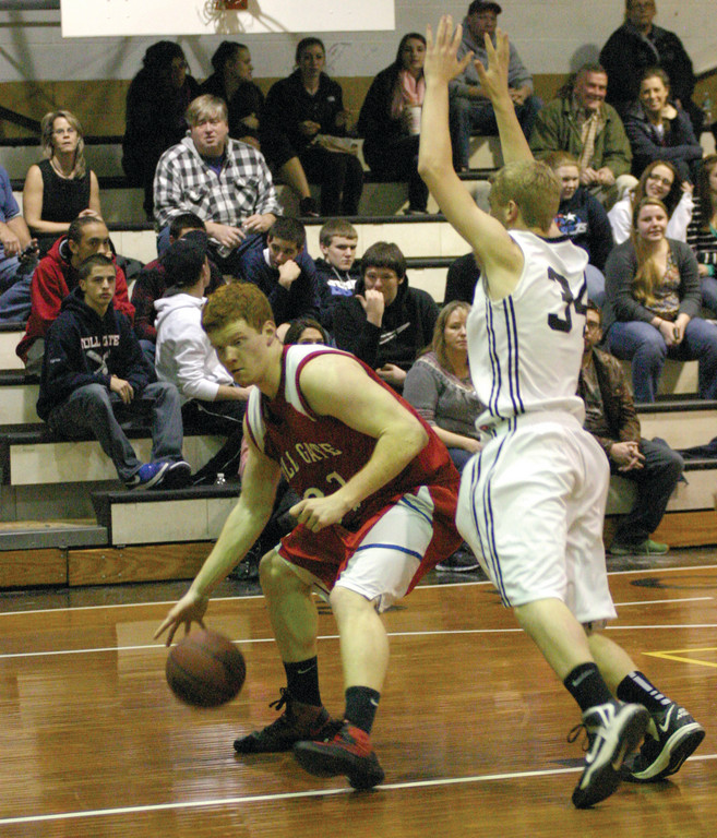 MOVING IN: Toll Gate's Tyler Inkley heads for the basket in Thursday's season finale against Pilgrim