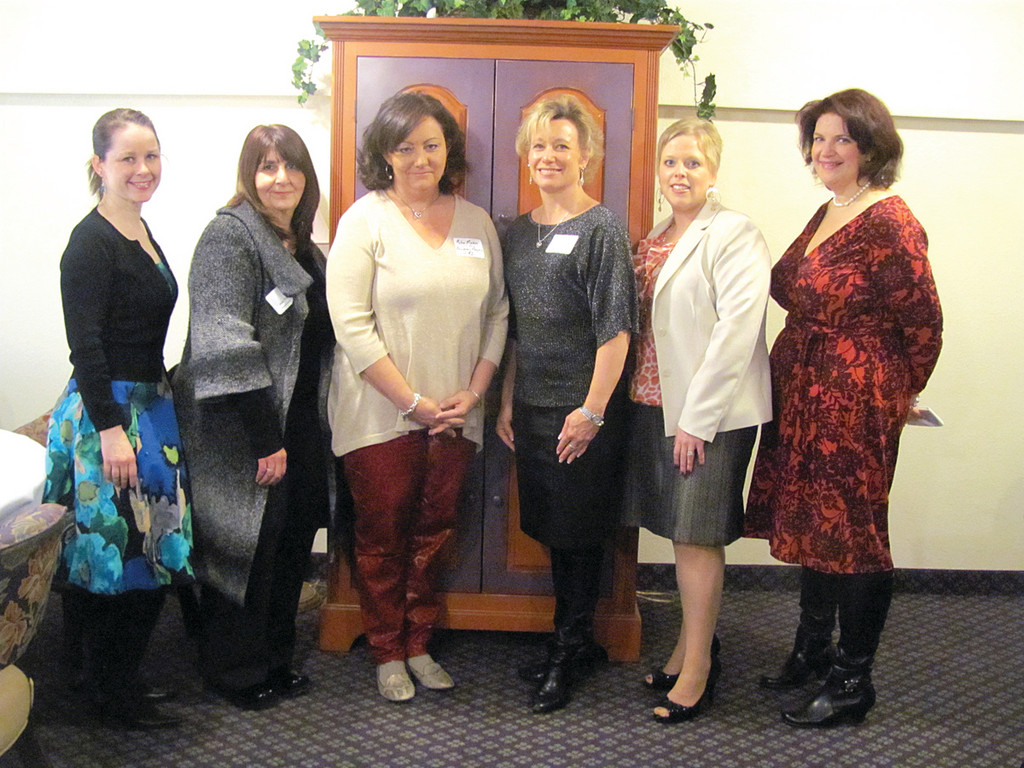 Among those NCCC members who participated in the Lipstick Luncheon are, from left, Kelly Patz, Jean Phillips, Karen Dalton, Amber Loxley-Kelley and Kimberly Moore.