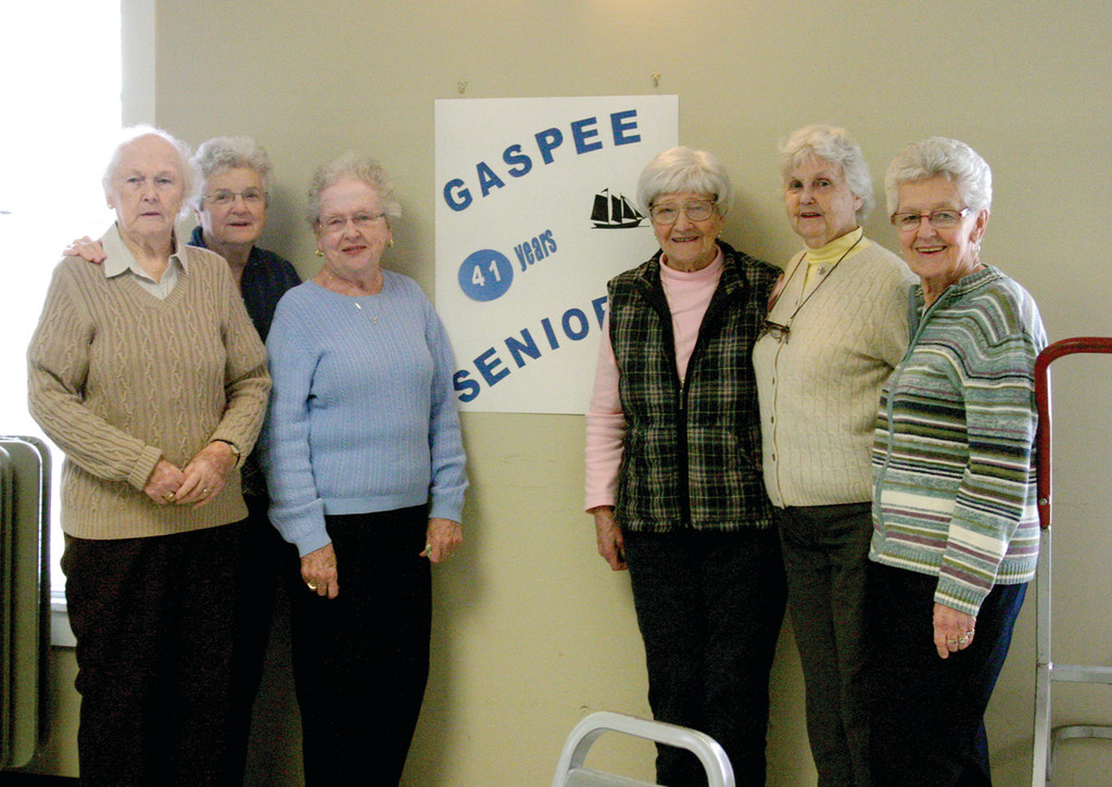 41 YEARS TOGETHER: Helen Blair, Joan Briggs, Dolores Bartoszewicz, Audrey Marmaras, Jean Prendergast and Mim Fallon are just a few of the women who celebrated the 41st anniversary of the Gaspee Seniors this past Tuesday.