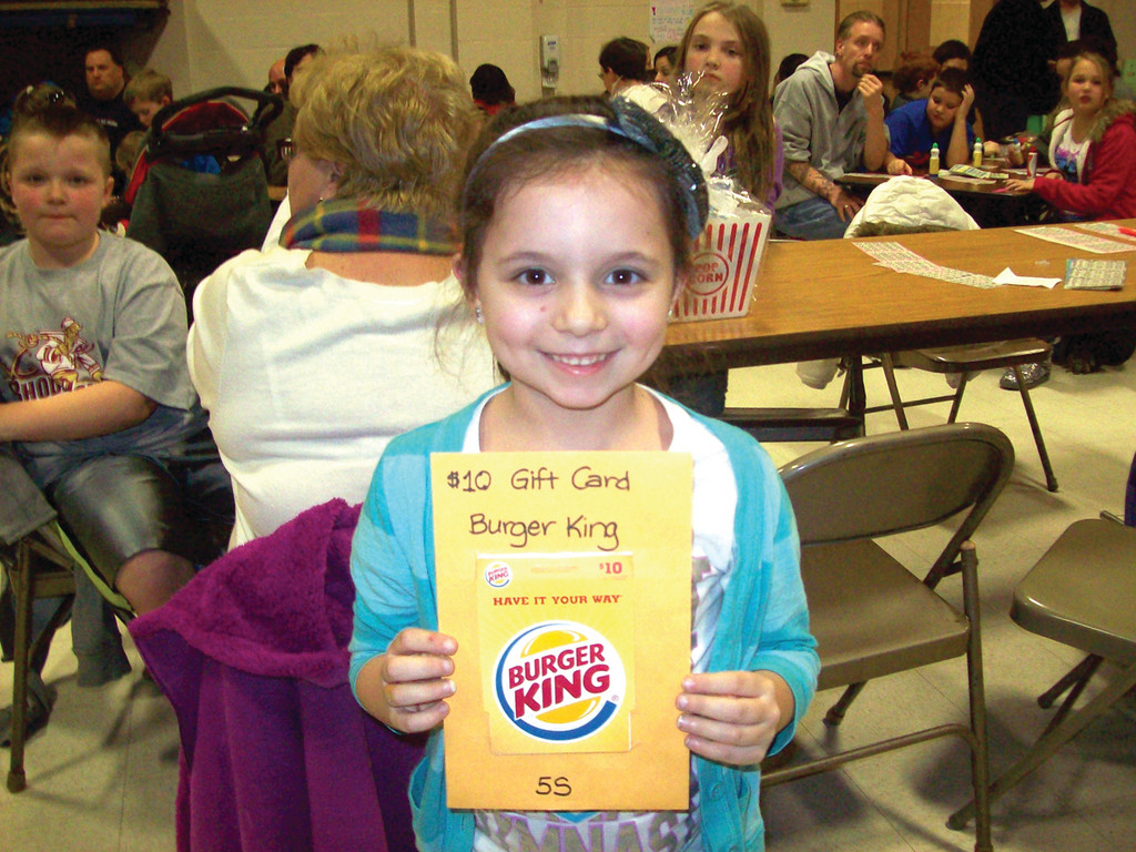 Second grader Hannah Calabro went home with multiple prizes, taking home this Burger King gift card and a My Little Pony playset.