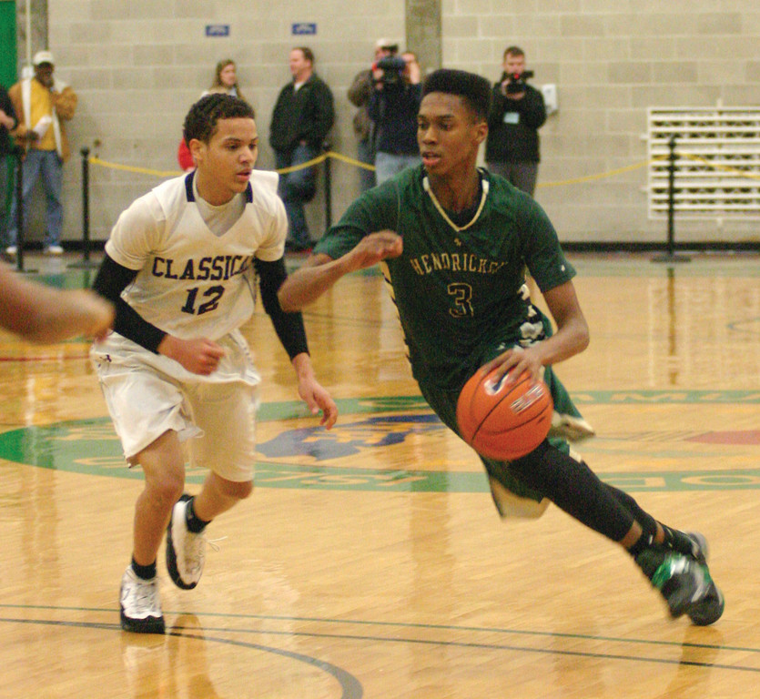DRIVE: Hendricken's Will Tavares heads to the basket during Friday's Division I semifinals.
