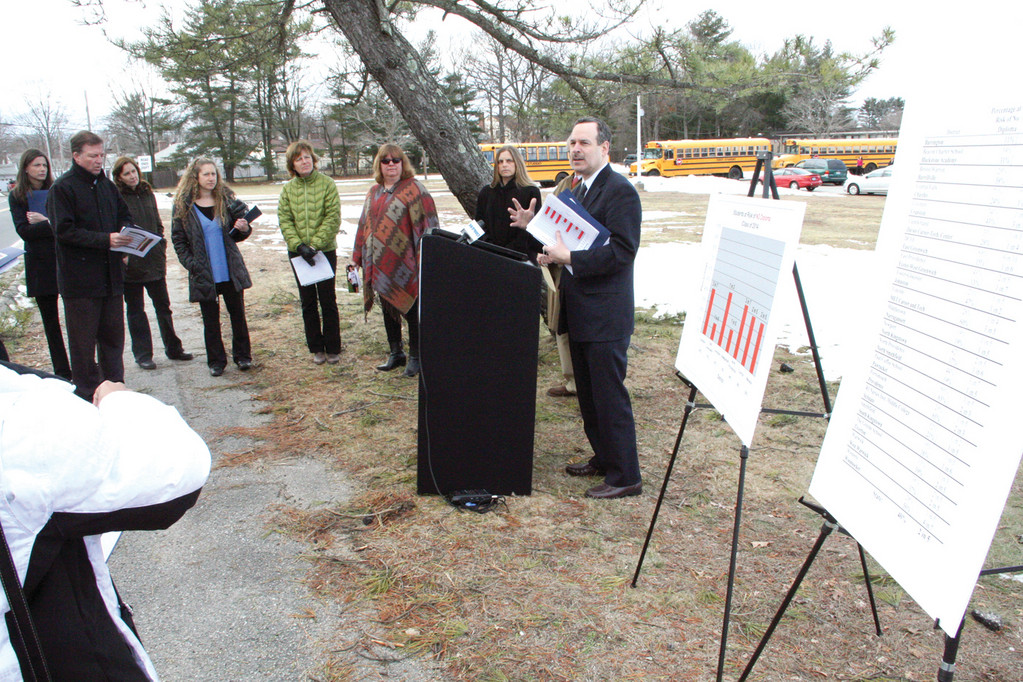 A coalition supporting the elimination of high stakes tests rallies outside Warwick's Pilgrim High School on Tuesday, claiming that 4,200 Rhode Island juniors are at risk of not graduating high school.