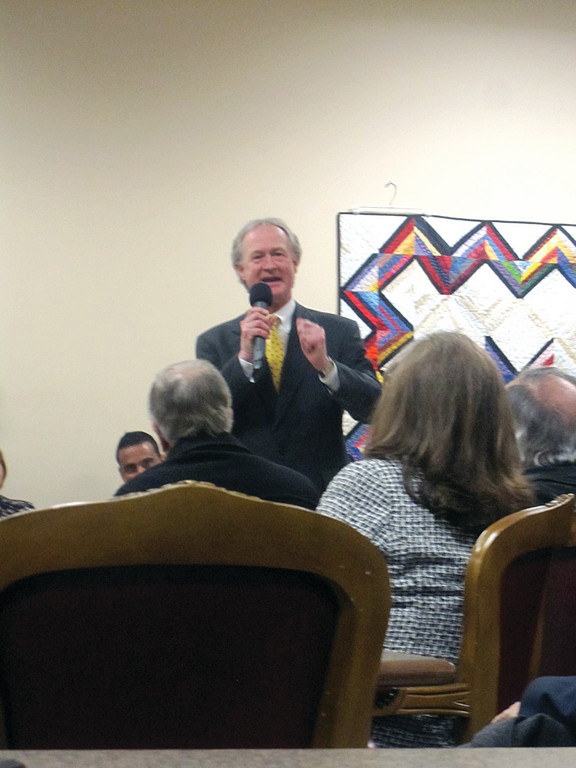 Governor Lincoln Chafee discusses his proposed budget during the first stop on his Rhode Trip throughout the state. Chafee stopped at the Johnston Senior Center on Tuesday evening.